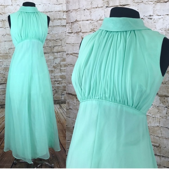 Mint green vintage full length gown union made